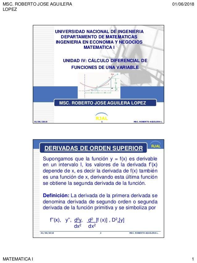 MSC. ROBERTO JOSE AGUILERA LOPEZ 01/06/2018 MATEMATICA I 1 RJAL UNIDAD IV: CÁLCULO DIFERENCIAL DE FUNCIONES DE UNA VARIABL...