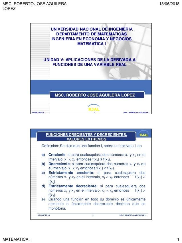 MSC. ROBERTO JOSE AGUILERA LOPEZ 13/06/2018 MATEMATICA I 1 RJAL UNIDAD V: APLICACIONES DE LA DERIVADA A FUNCIONES DE UNA V...