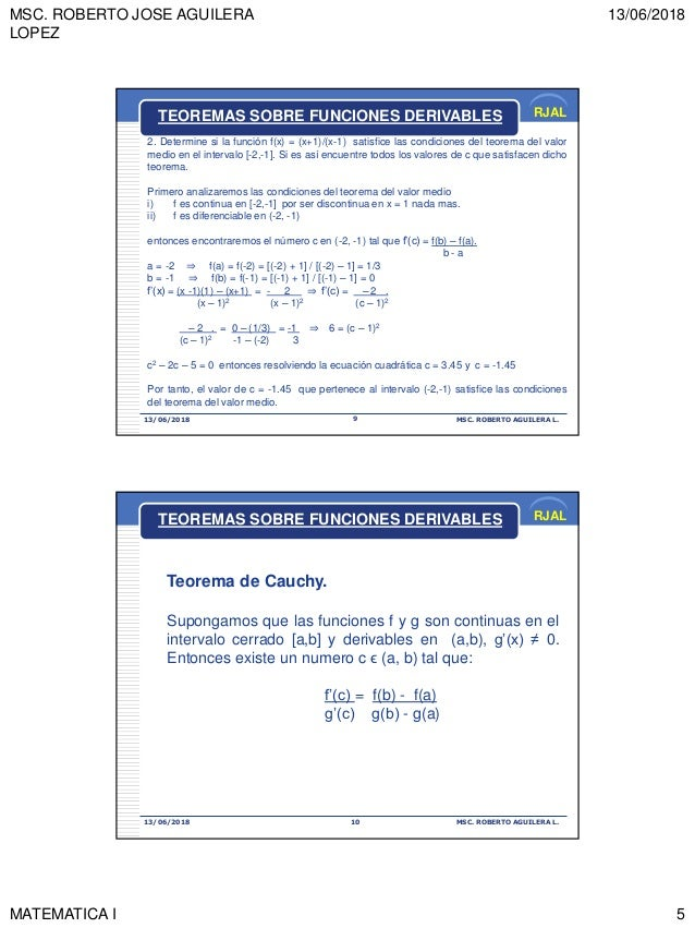 MSC. ROBERTO JOSE AGUILERA LOPEZ 13/06/2018 MATEMATICA I 5 RJAL 13/06/2018 MSC. ROBERTO AGUILERA L.9 TEOREMAS SOBRE FUNCIO...