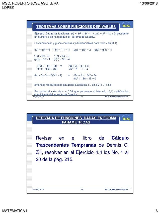MSC. ROBERTO JOSE AGUILERA LOPEZ 13/06/2018 MATEMATICA I 6 RJAL 13/06/2018 MSC. ROBERTO AGUILERA L.11 TEOREMAS SOBRE FUNCI...