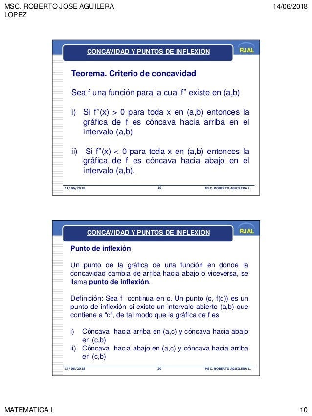 MSC. ROBERTO JOSE AGUILERA LOPEZ 14/06/2018 MATEMATICA I 10 RJAL 14/06/2018 MSC. ROBERTO AGUILERA L.19 Teorema. Criterio d...