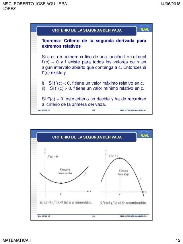 MSC. ROBERTO JOSE AGUILERA LOPEZ 14/06/2018 MATEMATICA I 12 RJAL 14/06/2018 MSC. ROBERTO AGUILERA L.23 Teorema: Criterio d...