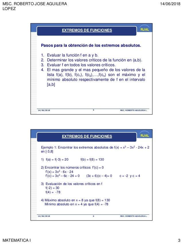 MSC. ROBERTO JOSE AGUILERA LOPEZ 14/06/2018 MATEMATICA I 3 RJAL 14/06/2018 MSC. ROBERTO AGUILERA L.5 Pasos para la obtenci...