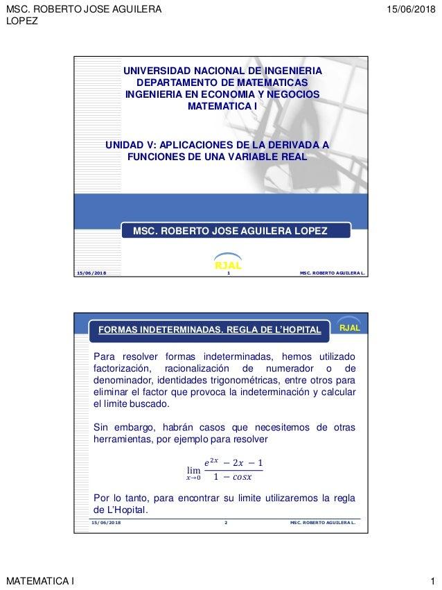 MSC. ROBERTO JOSE AGUILERA LOPEZ 15/06/2018 MATEMATICA I 1 RJAL UNIDAD V: APLICACIONES DE LA DERIVADA A FUNCIONES DE UNA V...