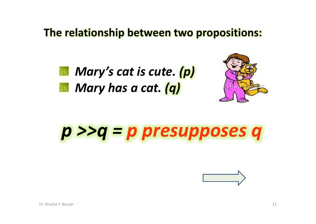 The relationship between two propositions:                          Mary's cat is cute. (p)                        Mary ha...