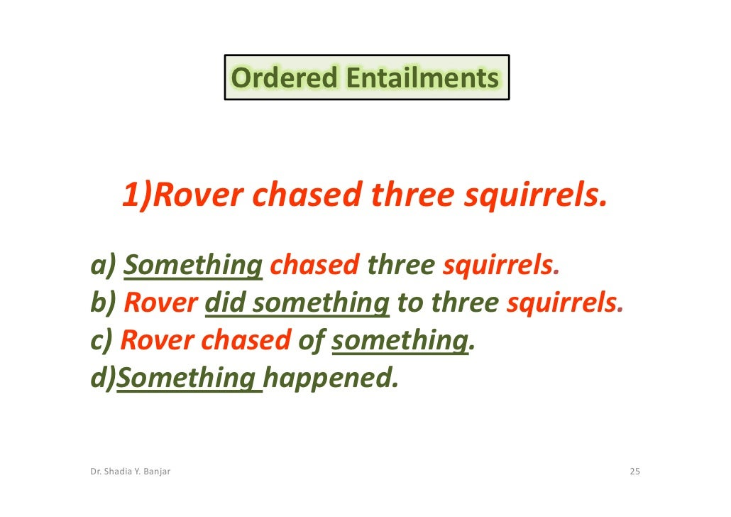 Ordered Entailments          1)Rover chased three squirrels. a) Something chased three squirrels. b) Rover did something t...
