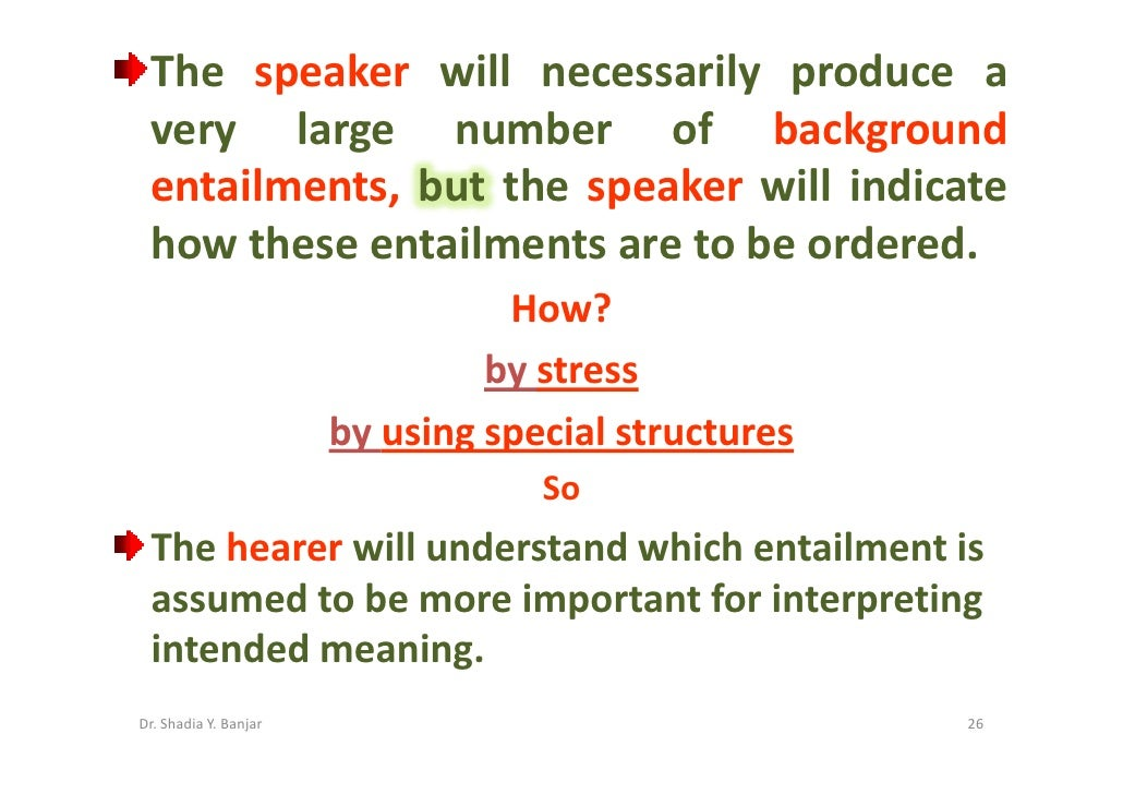 The speaker will necessarily produce a  very large number of background  entailments, but the speaker will indicate  how t...