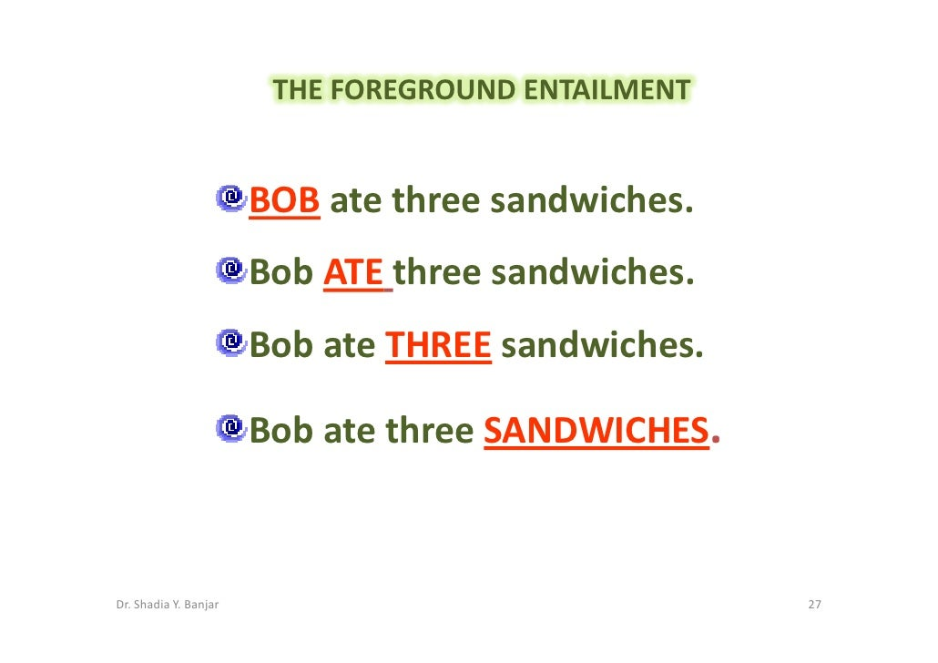THE FOREGROUND ENTAILMENT                          BOB ate three sandwiches.                        Bob ATE three sandwich...