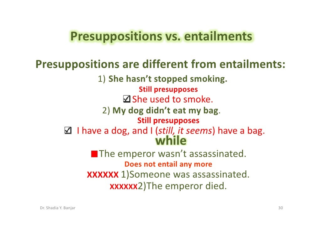 Presuppositions vs. entailments Presuppositions are different from entailments:                             1) She hasn't ...