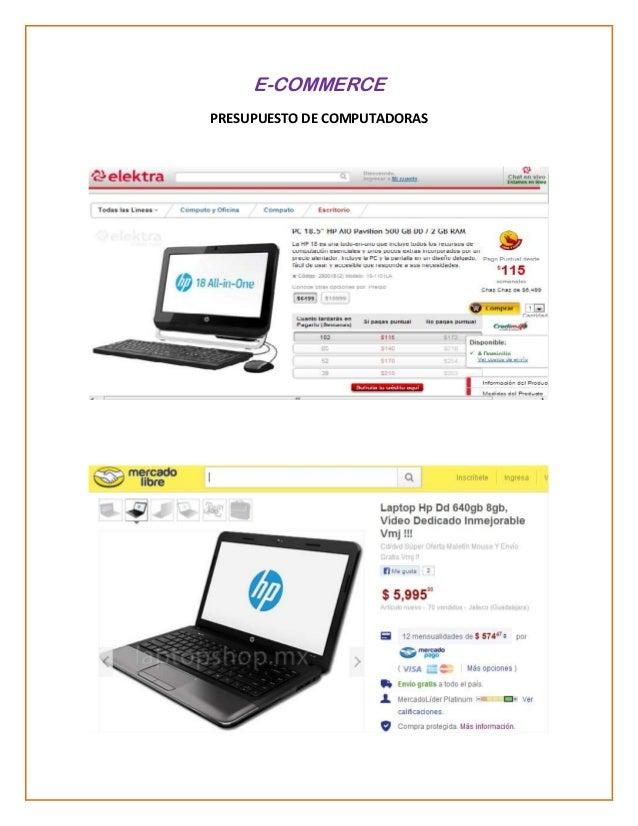 E-COMMERCE PRESUPUESTO DE COMPUTADORAS