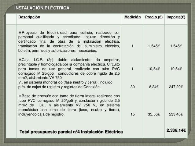 Presupuesto de obra local for Ejemplo de presupuesto instalacion geotermica chalet