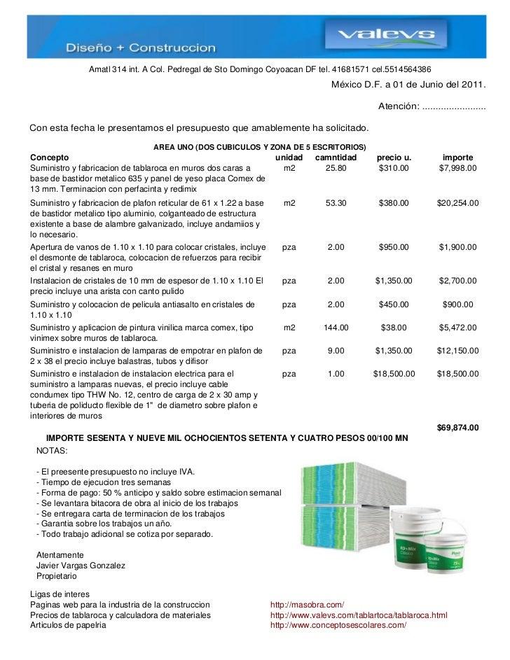Presupuesto de oficinas en tablaroca for Presupuesto para una pileta de material