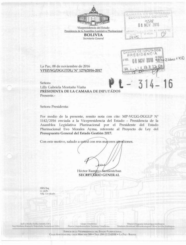 "+ Vicepresidencia del Estado I Presidencia de la Asamblea Legislativa Plurinadonal "" n - e BOLIVIA t Secretaría General E-..."