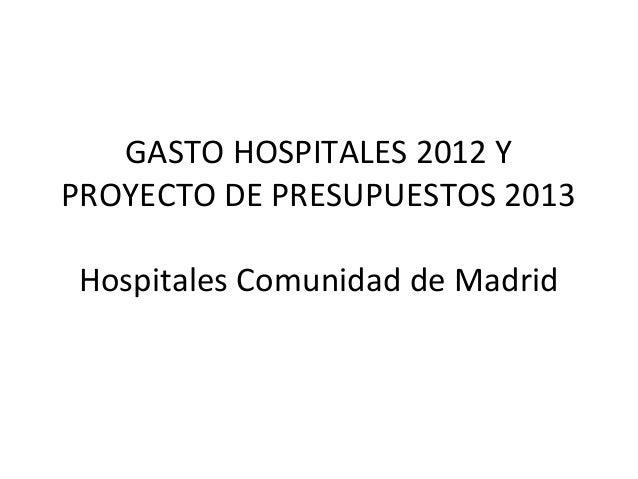 GASTO HOSPITALES 2012 YPROYECTO DE PRESUPUESTOS 2013Hospitales Comunidad de Madrid