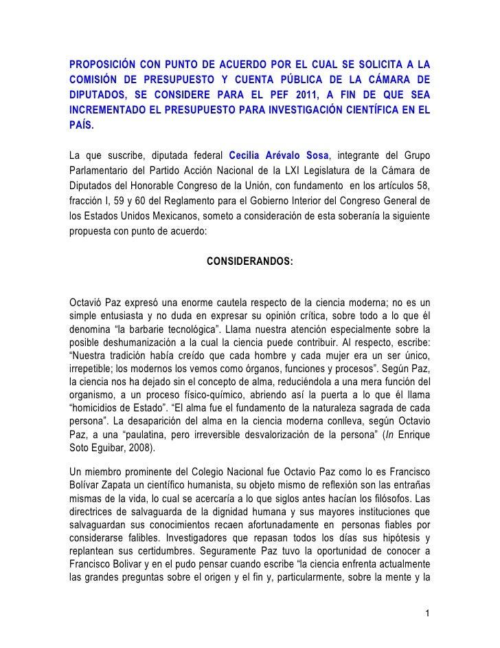 PROPOSICIÓN CON PUNTO DE ACUERDO POR EL CUAL SE SOLICITA A LA COMISIÓN DE PRESUPUESTO Y CUENTA PÚBLICA DE LA CÁMARA DE DIP...