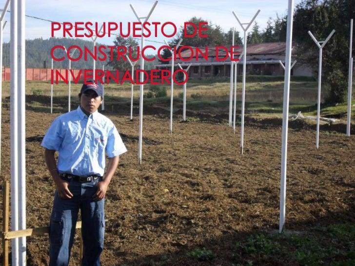 PRESUPUESTO DE  CONSTRUCCION DE INVERNADERO<br />