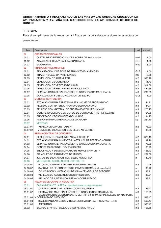 OBRA: PAVIMENTO Y REASFALTADO DE LAS VIAS AV LAS AMERICAS CRUCE CON LA AV. PAISAJISTA Y AV. VIÑA DEL MARCRUCE CON LA AV. B...
