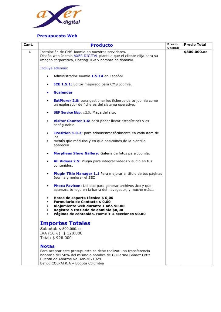 Presupuesto web 800 for Presupuestos de reformas