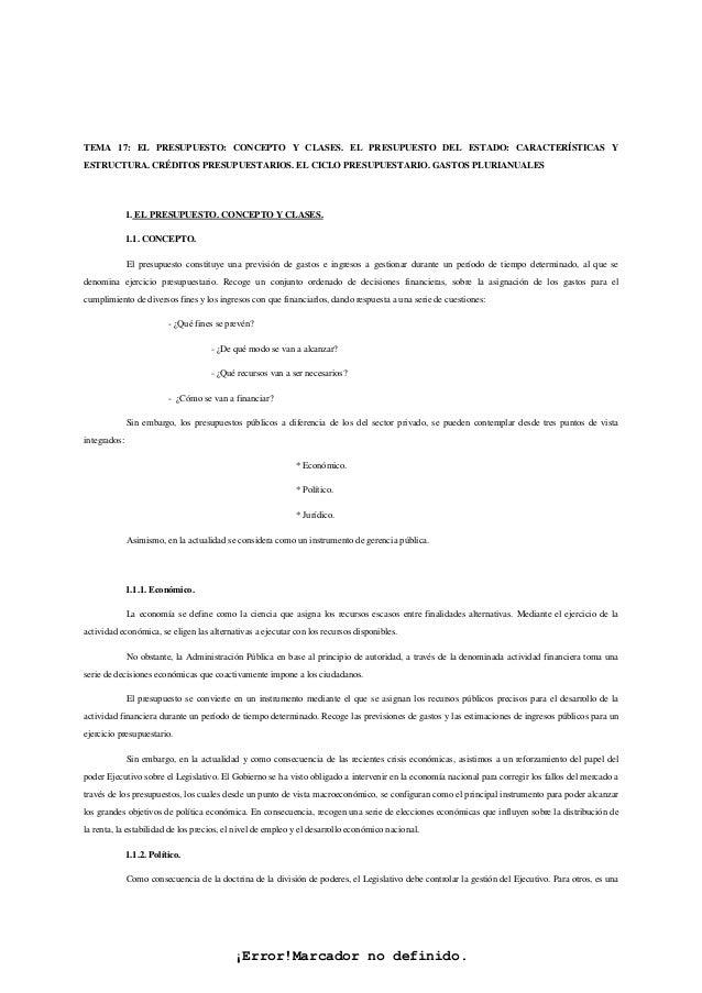 ¡Error!Marcador no definido. TEMA 17: EL PRESUPUESTO: CONCEPTO Y CLASES. EL PRESUPUESTO DEL ESTADO: CARACTERÍSTICAS Y ESTR...