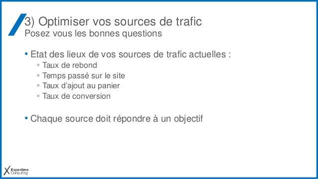 3) Optimiser vos sources de trafic Posez vous les bonnes questions • Etat des lieux de vos sources de trafic actuelles : ...