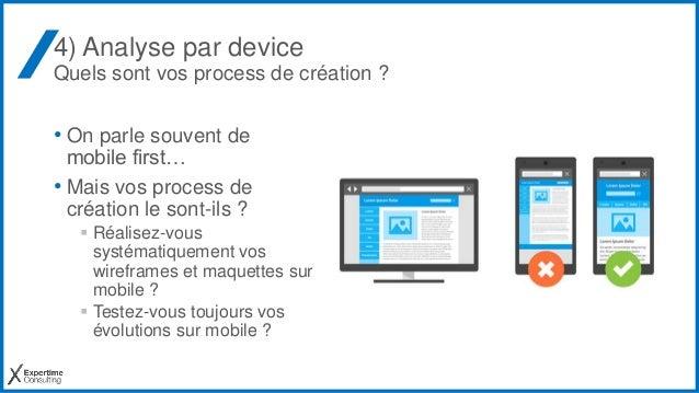 4) Analyse par device Quels sont vos process de création ? • On parle souvent de mobile first… • Mais vos process de créat...