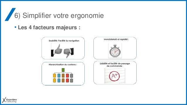 6) Simplifier votre ergonomie • Les 4 facteurs majeurs :