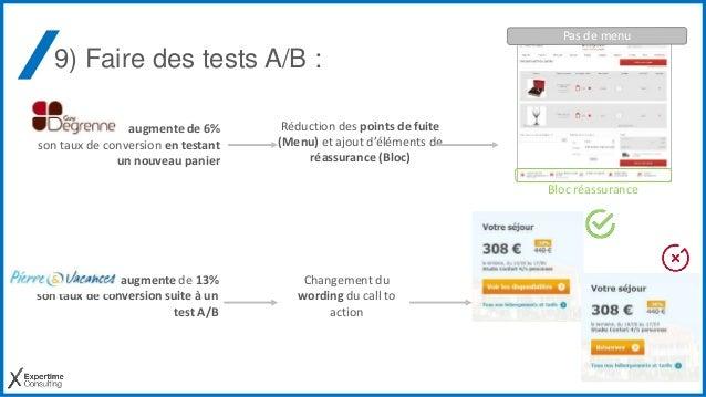 9) Faire des tests A/B : augmente de 6% son taux de conversion en testant un nouveau panier augmente de 13% son taux de co...