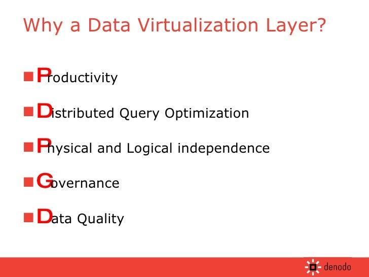 Why a Data Virtualization Layer? <ul><li>P roductivity </li></ul><ul><li>D istributed Query Optimization </li></ul><ul><li...