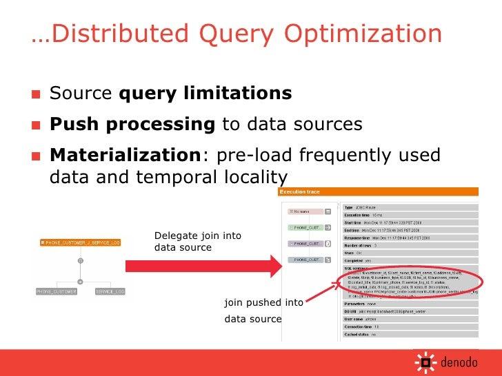 <ul><li>Source  query limitations </li></ul><ul><li>Push processing  to data sources </li></ul><ul><li>Materialization : p...