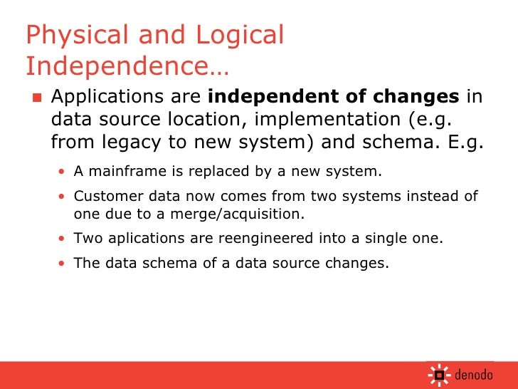 <ul><li>Applications are  independent of changes  in data source location, implementation (e.g. from legacy to new system)...