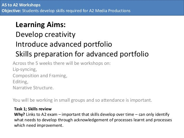 Learning Aims: Develop creativity Introduce advanced portfolio Skills preparation for advanced portfolio Across the 5 week...
