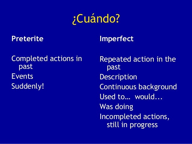 ¿Cuándo?PreteriteCompleted actions inpastEventsSuddenly!ImperfectRepeated action in thepastDescriptionContinuous backgroun...