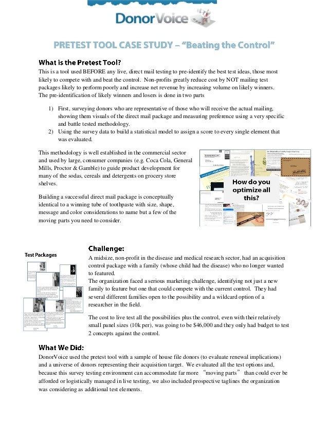 This is a tool used BEFORE any live, direct mail testing to pre-identify the best test ideas, those most likely to compete...