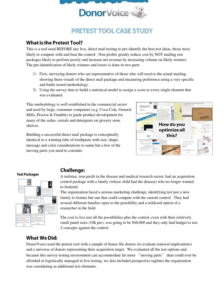 This is a tool used BEFORE any live, direct mail testing to pre-identify the best test ideas, those mostlikely to compete ...