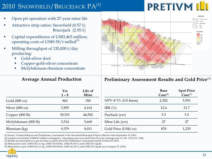 2010 SNOWFIELD/BRUCEJACK PA(1)      Open pit operation with 27-year mine life      Attractive strip ratios: Snowfield (0...