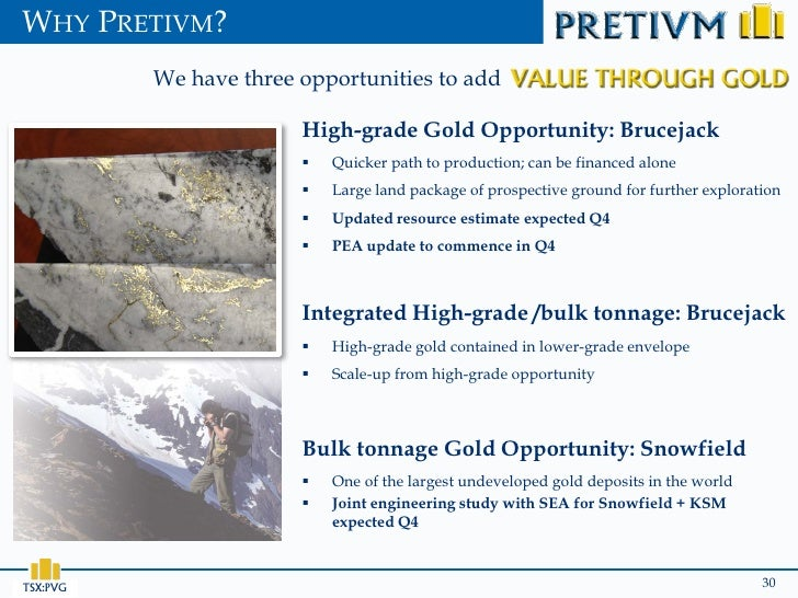 WHY PRETIVM?          We have three opportunities to add                        High-grade Gold Opportunity: Brucejack    ...
