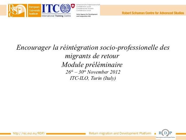 Encourager la réintégration socio-professionelle des                  migrants de retour                 Module préléminai...