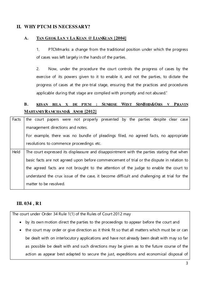 3 II. WHY PTCM IS NECESSARY? A. TAN GEOK LAN V LA KUAN @ LIANKUAN [2004] 1. PTCMmarks a change from the traditional positi...