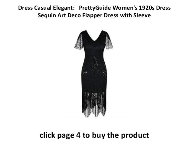 b2cbeff9814b elegantly casual dresses PrettyGuide Women's 1920s Dress Sequin Art Deco Flapper  Dress with Sleeve Dress Elegant Online