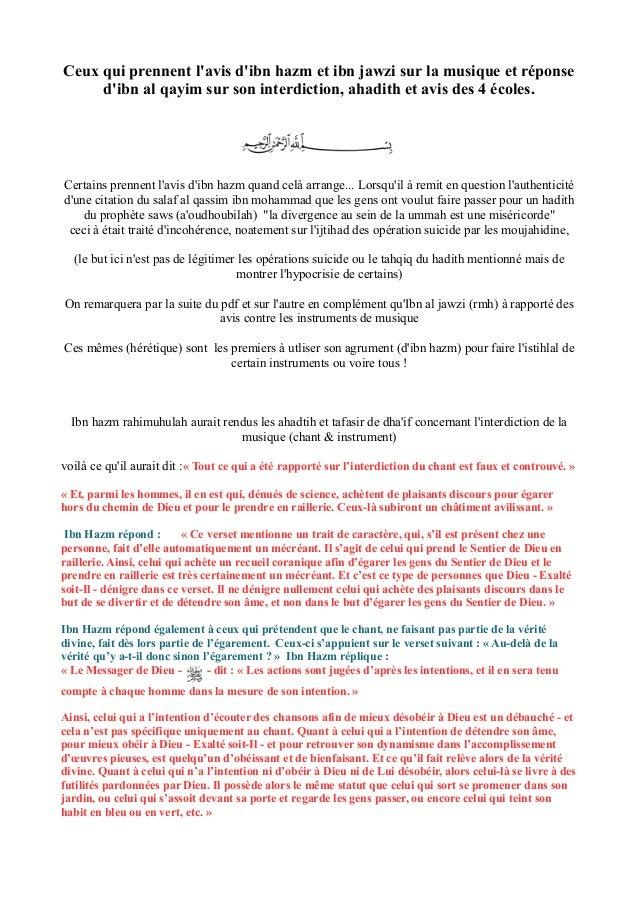 Ceux qui prennent l'avis d'ibn hazm et ibn jawzi sur la musique et réponse d'ibn al qayim sur son interdiction, ahadith et...