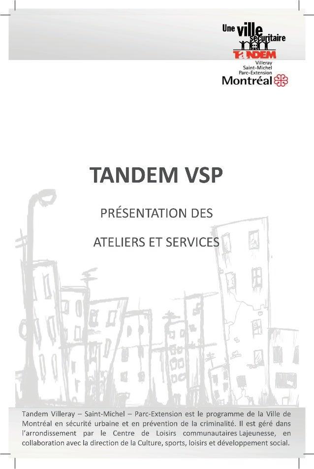 Livret des ateliers et services courants de Tandem VSP