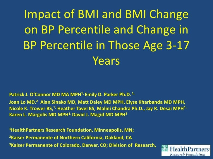Impact of BMI and BMI Change      on BP Percentile and Change in      BP Percentile in Those Age 3-17                   Ye...