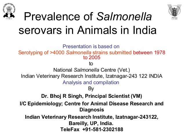 Prevalence of different salmonella serovars in india up to 2005