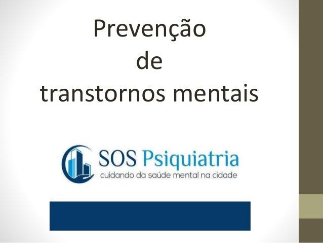 Prevenção de transtornos mentais