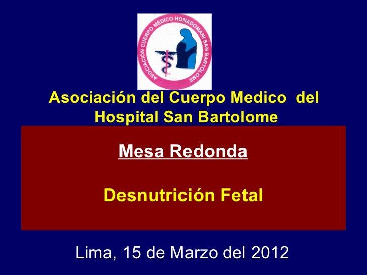 Asociación del Cuerpo Medico del     Hospital San Bartolome        Mesa Redonda      Desnutrición Fetal   Lima, 15 de Marz...