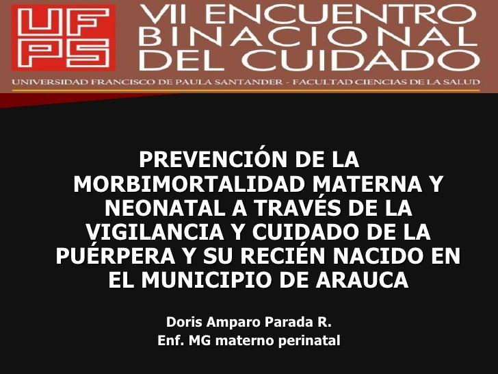 <ul><li>PREVENCIÓN DE LA MORBIMORTALIDAD MATERNA Y NEONATAL A TRAVÉS DE LA VIGILANCIA Y CUIDADO DE LA PUÉRPERA Y SU RECIÉN...