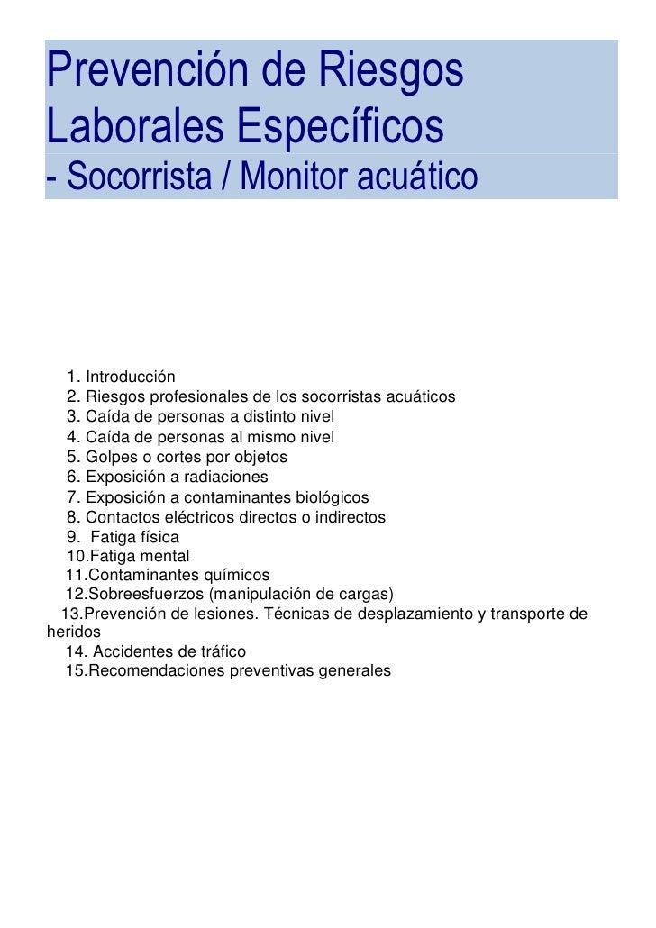 Prevención de Riesgos Laborales Específicos - Socorrista / Monitor acuático       1. Introducción    2. Riesgos profesiona...
