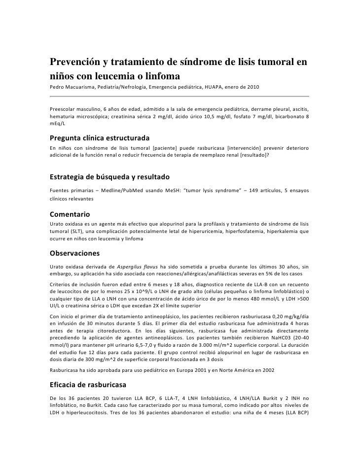Prevención y tratamiento de síndrome de lisis tumoral en niños con leucemia o linfoma<br />Pedro Macuarisma, Pediatría/Nef...