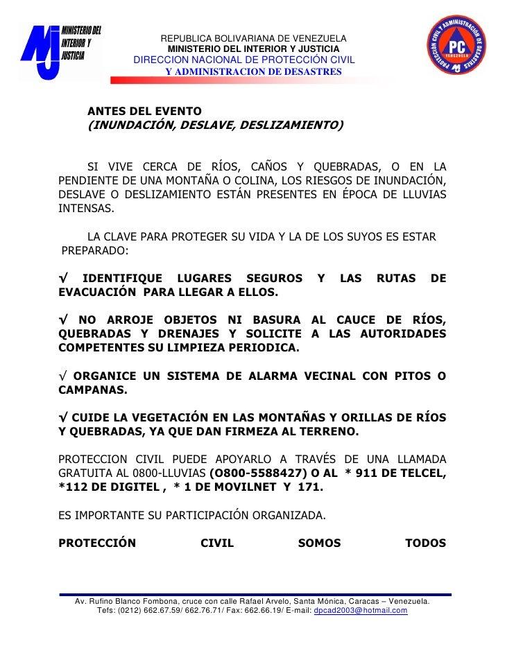 REPUBLICA BOLIVARIANA DE VENEZUELA                          MINISTERIO DEL INTERIOR Y JUSTICIA                  DIRECCION ...