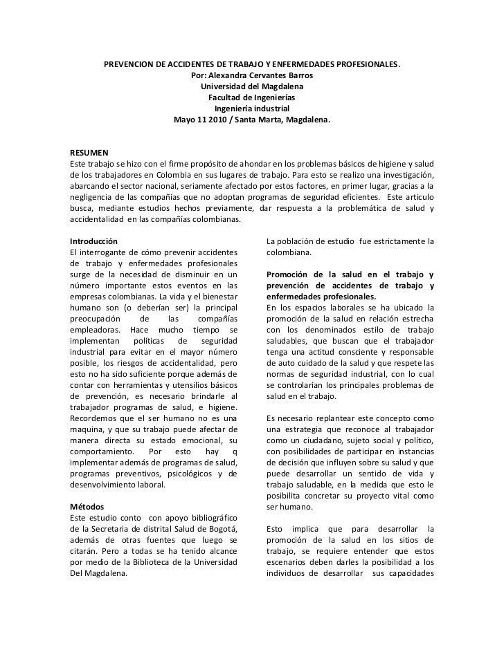 PREVENCION DE ACCIDENTES DE TRABAJO Y ENFERMEDADES PROFESIONALES.                             Por: Alexandra Cervantes Bar...